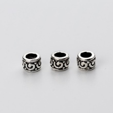 Charm bạc hình trụ chặn hạt họa tiết hoa văn 5.6mm - Ngọc Quý Gemstones