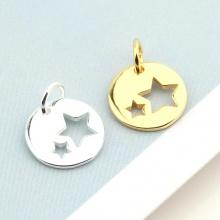 Charm bạc tròn 2 ngôi sao treo 8mm - Ngọc Quý Gemstones