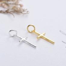 Charm bạc thánh giá mạ vàng treo 1.2x9.3x15.5mm - Ngọc Quý Gemstones