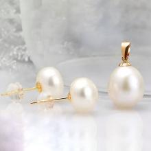Eropi bộ set 2 món mặt dây chuyền vàng 18k ngọc trai và bông tai nụ vàng