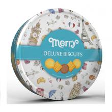 Hộp thiếc tròn Merry Deluxe - Bánh quy thập cẩm 396g