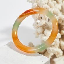 Vòng tay đá mã não tam thiên nhiên bản tròn dày 10mm - Ngọc Quý Gemstones
