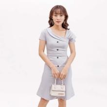 Váy đầm thời trang Eden tay cách điệu màu xám - D393