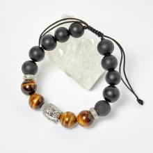 Vòng đá obsidian phối thạch anh mắt hổ vàng nâu và charm phật hạt 10mm - Ngọc Quý Gemstones