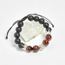 Vòng đá obsidian phối thạch anh mắt hổ nâu đỏ và charm vương miệng bạc hạt 10mm - Ngọc Quý Gemstones
