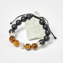 Vòng đá obsidian phối thạch anh mắt hổ vàng nâu và charm vương miệng bạc hạt 10mm - Ngọc Quý Gemstones