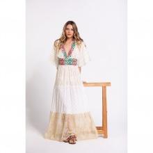 Đầm maxi trắng cổ V thêu hoa nổi Savage Culture SC36629-BE