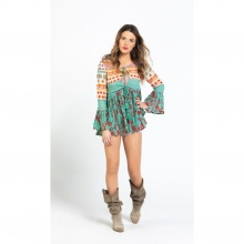 Áo khoác tay loe họa tiết nhiều màu Harmonya Culture SC36705-PR
