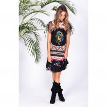 Đầm suông đen thêu họa tiết hoa nổi Savage Culture SC35073-BL