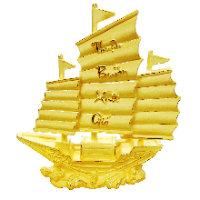 Thuyền buồm xuôi gió phủ vàng 24K - Qùa tặng mỹ nghệ Kim Bảo Phúc DOJI