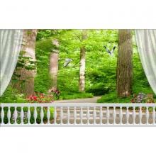 Tranh dán tường cửa sổ rừng cây xanh CS93