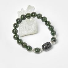 Vòng thạch anh tóc xanh phối charm bạc hạt 8mm mệnh hỏa, mộc - Ngọc Quý Gemstones