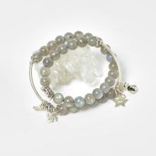 Vòng 2 line đá xà cừ xám ánh xanh phối charm nén bạc hạt 7mm - Ngọc Quý Gemstones