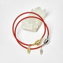 Combo 2 vòng dây đỏ charm chiếc lá - Ngọc Quý Gemstones