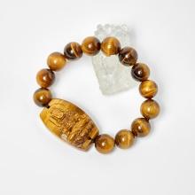 Vòng phật bản mệnh tuổi dậu bất động minh vương thạch anh mắt hổ hạt 12mm mệnh thổ, kim - Ngọc Quý Gemstones