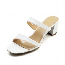 Dép cao gót Erosska thời trang mũi vuông kiểu dáng xỏ phối mica trong cao 5cm EM033 (màu trắng)