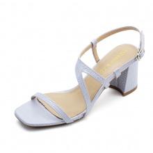 Giày sandal cao gót Erosska mũi vuông phối quai dây mảnh, hoạ tiết da rắn nổi bật cao 7cm EM034 (màu xám)