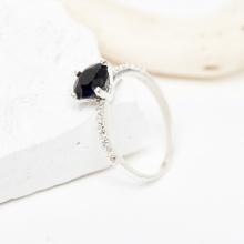 Nhẫn bạc đá sapphire xanh đen mệnh thủy mộc - Ngọc Quý Gemstones