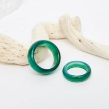 Set nhẫn nam nữ đá mã não xanh đk nữ 17mm, nam 19mm mệnh mộc hỏa - Ngọc Quý Gemstones