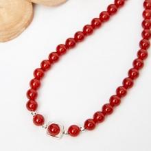 Vòng chuỗi hạt dây chuyền cổ đá mã não đỏ 8mm, dài 50cm mệnh hỏa thổ - Ngọc Quý Gemstones