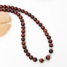 Vòng chuỗi hạt dây chuyền cổ đá mắt hổ nâu đỏ 8mm, dài 50cm mệnh hỏa thổ - Ngọc Quý Gemstones