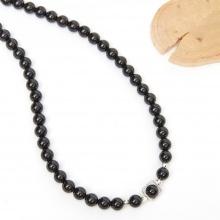 Vòng chuỗi hạt dây chuyền cổ đá obsidian 8mm, dài 50cm mệnh thuỷ, mộc - Ngọc Quý Gemstones