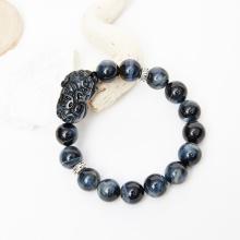 Vòng tay đá thạch anh mắt ưng phối tỳ hưu đá 12mm mệnh thủy, mộc - Ngọc Quý Gemstones