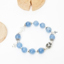 Vòng chuỗi Mân Côi Rosary Bracelet đá aquamarine - Ngọc Quý Gemstones