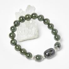 Vòng thạch anh tóc xanh phối bạc 50mm mệnh mộc hỏa - Ngọc Quý Gemstones