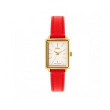 Đồng hồ nữ Julius Hàn Quốc dây da mặt chữ nhật JA-787C JU1125 (đỏ)