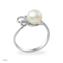 Nhẫn ngọc trai Freshwater trắng chất liệu bạc quý kim R5341
