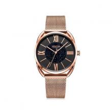 Đồng hồ nữ dây kim loại chính hãng Julius Hàn Quốc JA-1184D đồng mặt đen