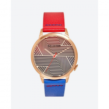 Đồng hồ thời trang unisex Erik von Sant 003.001.A mặt tròn họa tiết kẻ sọc phối dây hai màu 38mm