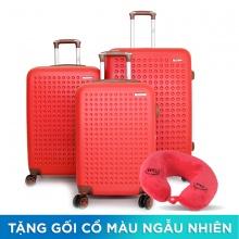 Bộ 3 vali nhựa Trip P803A size 50cm+60cm+70cm đỏ (tặng 3 gối cổ)