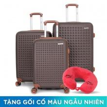 Bộ 3 vali nhựa Trip P803A (50cm + 60cm + 70cm) Cafe (tặng 3 gối cổ)