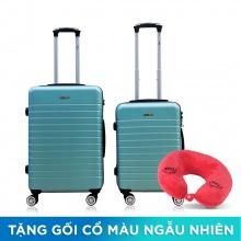 Combo 2 vali nhựa Trip PC911 size 50cm+60cm xanh ngọc (tặng 2 gối cổ)