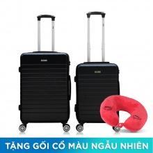 Combo 2 vali nhựa Trip PC911 size 50cm+60cm màu đen (tặng 2 gối cổ)