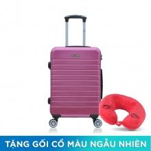 Vali nhựa kéo Trip PC911 size 60cm 24 inch tím hồng (tặng gối cổ)