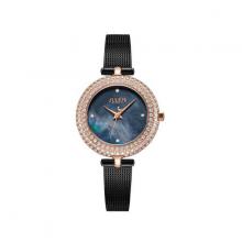 Đồng hồ nữ dây kim loại mặt kính saphire Hàn Quốc JS-041C đen