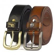 Thắt lưng nam khóa kim da bò nguyên tấm, mặt khóa đúc Manzo 145 - bảo hành 1 năm - tặng móc khóa, đinh đục lỗ