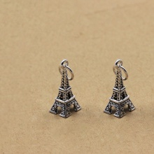 Charm bạc hình tháp Eiffel treo 17.5x8mm