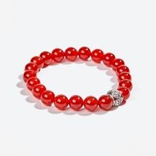 Vòng tay phong thủy đá mã não đỏ thiên nhiên phối charm bạc (8mm) Ngọc Quý Gemstones