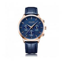 Đồng hồ nam 6 kim Julius jah-107c dây da (xanh)