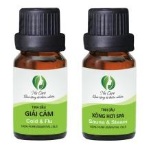 Bộ 2 tinh dầu hợp hương NuCare giúp thư giãn và sát khuẩn - giải cảm + xông hơi spa (10ml x 2)