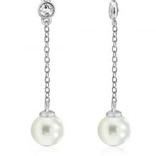 Hoa tai Grace Pearl Jadmire bạc 925 cao cấp mạ Platinum đính đá Swarovski trắng