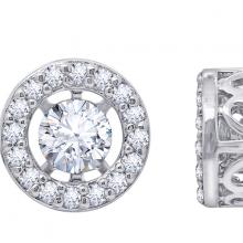 Hoa tai Dancing Circle Jadmire bạc 925 cao cấp mạ Platinum đính đá Swarovski trắng