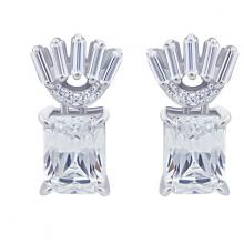Hoa tai Fierce Jadmire bạc 925 cao cấp mạ Platinum đính đá Swarovski trắng