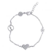 Lắc tay White Love Heart Jadmire bạc Ý 925 cao cấp mạ Platinum đính đá Swarovski trắng