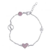 Lắc tay Pink Love Heart Jadmire bạc Ý 925 cao cấp mạ Platinum đính đá Swarovski hồng
