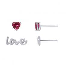 Hoa tai bất đối xứng Ruby Love Jadmire bạc Ý 925 cao cấp mạ Platinum đính đá Swarovski Ruby nhân tạo